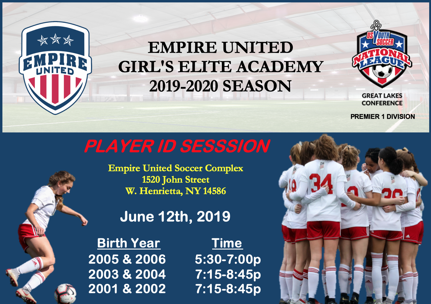 2019-2020 Empire United Girls Elite Academy Tryout Info