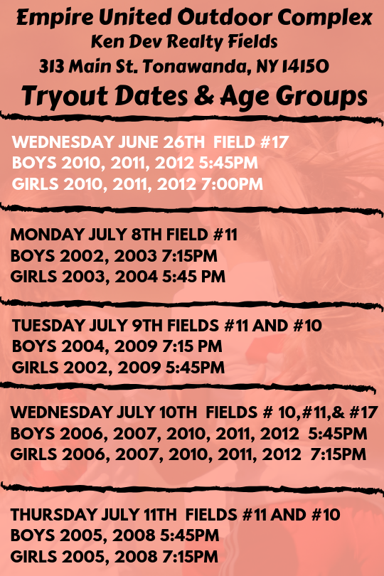 Empire Buffalo Tryouts: Dates & Age Groups | Empire United